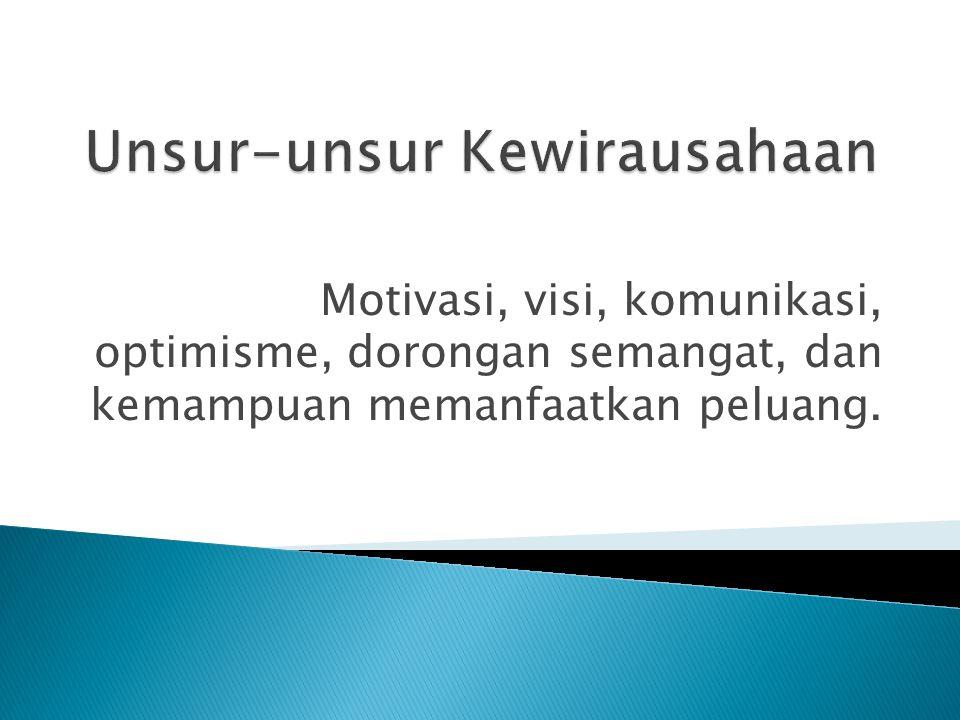 Motivasi, visi, komunikasi, optimisme, dorongan semangat, dan kemampuan memanfaatkan peluang.