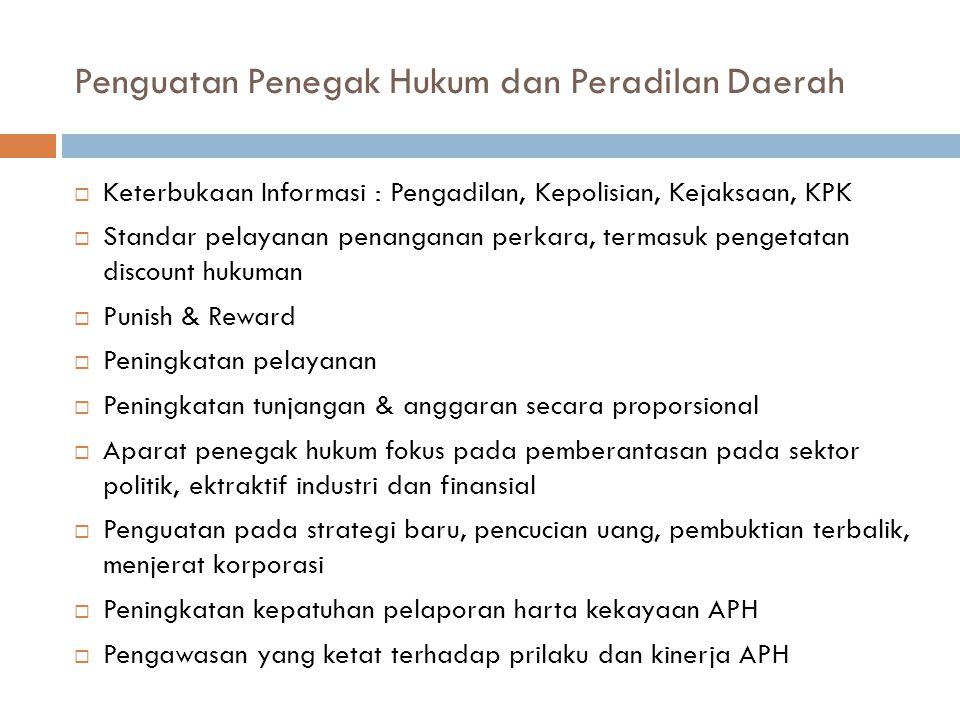 Penguatan Penegak Hukum dan Peradilan Daerah  Keterbukaan Informasi : Pengadilan, Kepolisian, Kejaksaan, KPK  Standar pelayanan penanganan perkara,