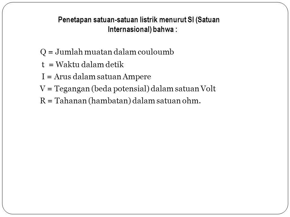 Penetapan satuan-satuan listrik menurut SI (Satuan Internasional) bahwa : Q = Jumlah muatan dalam couloumb t = Waktu dalam detik I = Arus dalam satuan