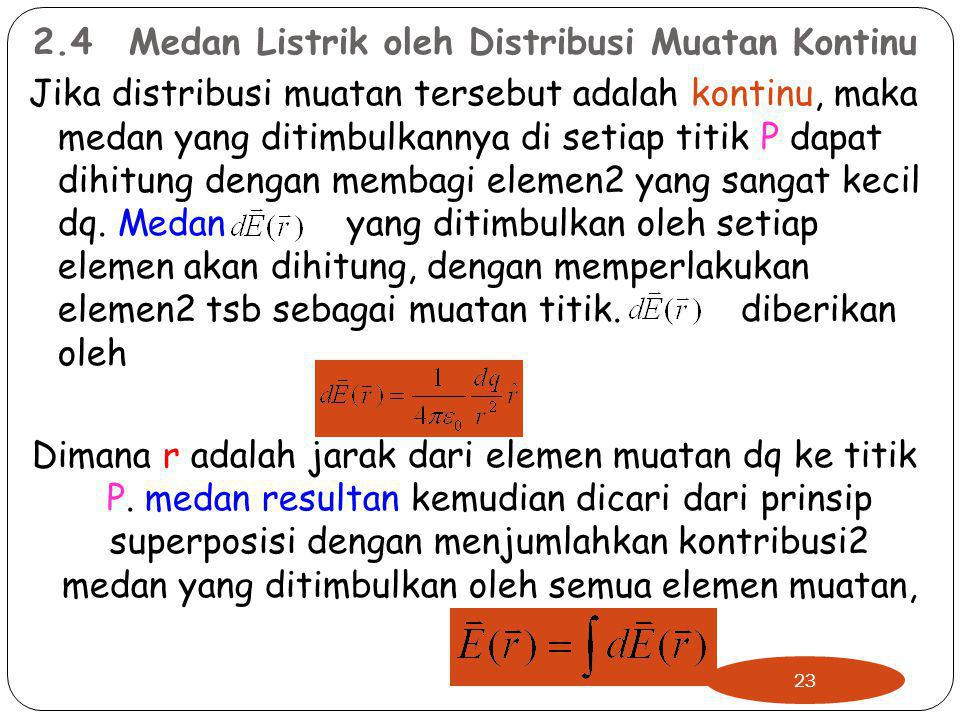 2.4Medan Listrik oleh Distribusi Muatan Kontinu Jika distribusi muatan tersebut adalah kontinu, maka medan yang ditimbulkannya di setiap titik P dapat