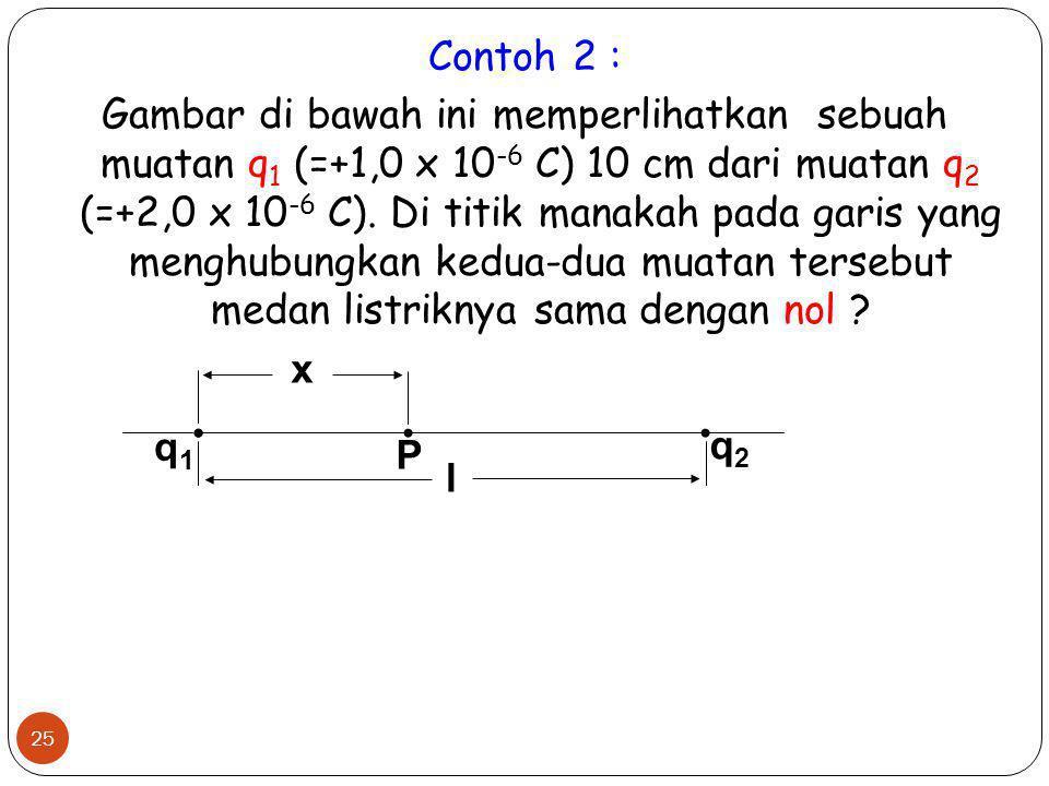 25 Contoh 2 : Gambar di bawah ini memperlihatkan sebuah muatan q 1 (=+1,0 x 10 -6 C) 10 cm dari muatan q 2 (=+2,0 x 10 -6 C). Di titik manakah pada ga