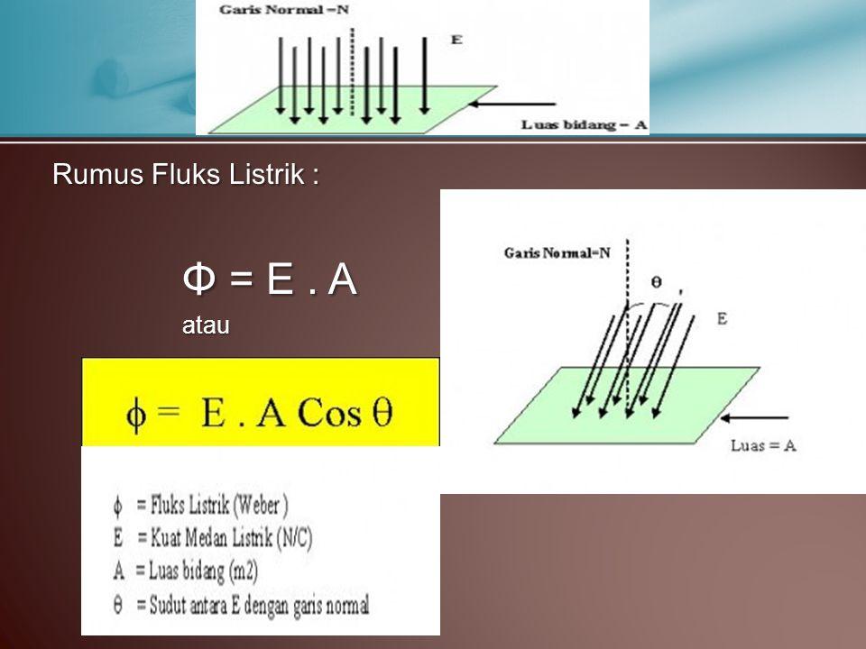 Rumus Fluks Listrik : Φ = E. A atau