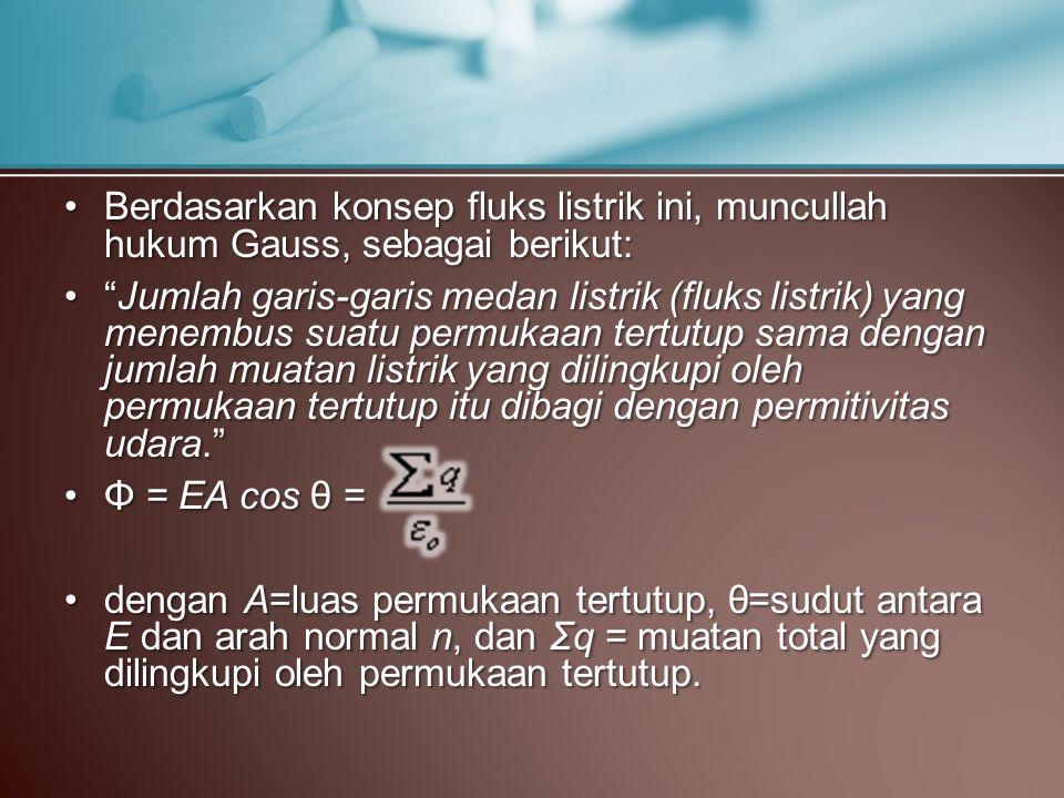 Berdasarkan konsep fluks listrik ini, muncullah hukum Gauss, sebagai berikut:Berdasarkan konsep fluks listrik ini, muncullah hukum Gauss, sebagai beri