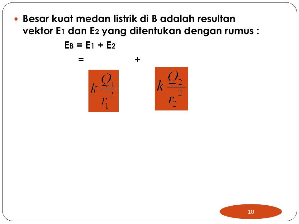 Besar kuat medan listrik di B adalah resultan vektor E 1 dan E 2 yang ditentukan dengan rumus : E B = E 1 + E 2 = + 10
