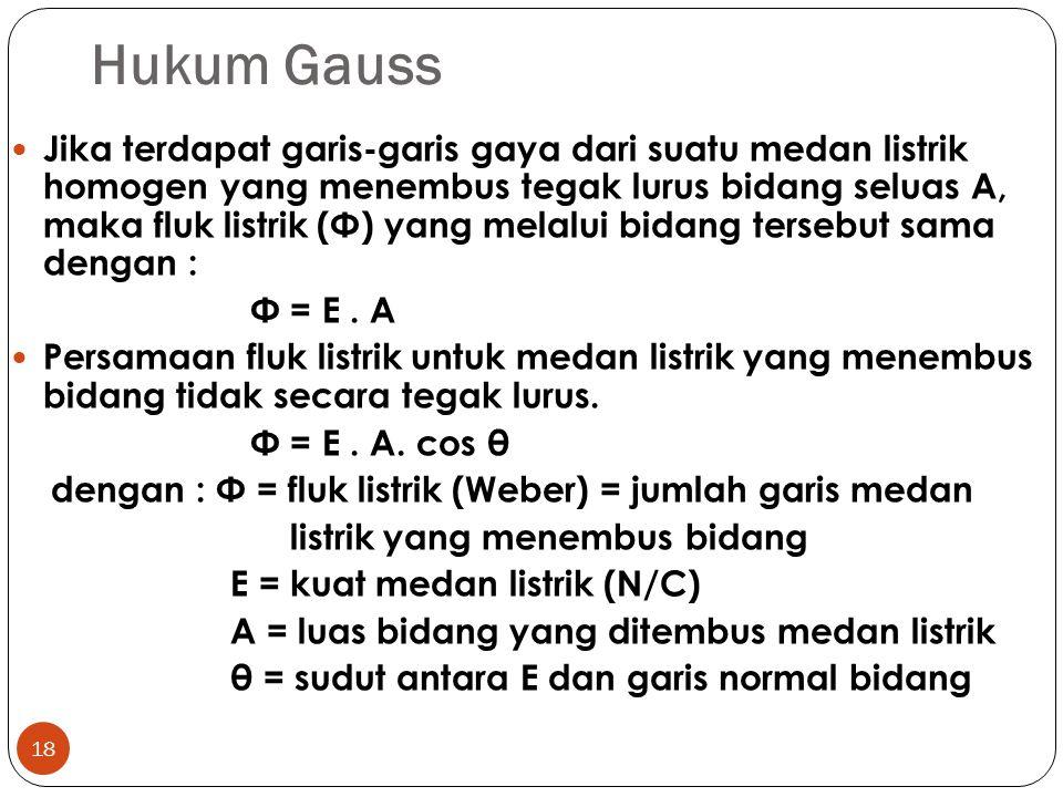 Hukum Gauss 18 Jika terdapat garis-garis gaya dari suatu medan listrik homogen yang menembus tegak lurus bidang seluas A, maka fluk listrik (Φ) yang m