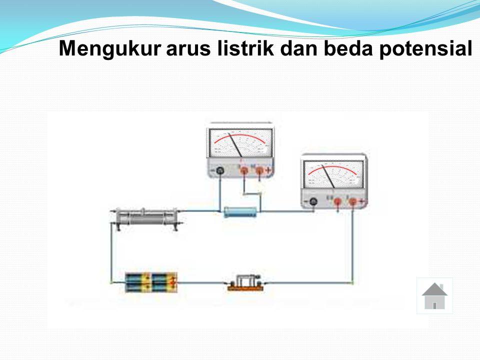 Mengukur Beda Potensial ( tegangan listrik ) Alat pengukur tegangan listrik adalah voltmeter Alat pengukur tegangan listrik adalah voltmeter Voltmeter dipasang paralel dengan komponen yang akan diukur beda potensialnya.