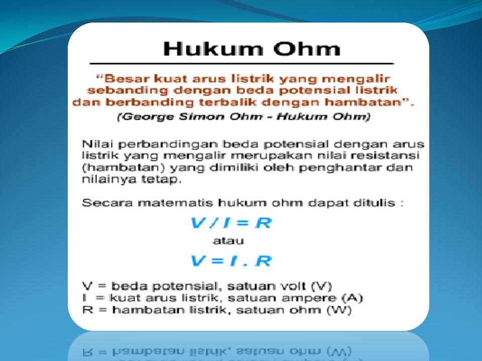 Hukum Ohm menyatakan bahwa besar arus yang mengalir pada suatu konduktor pada suhu tetap sebanding dengan beda potensial antara kedua ujung-ujun konduktor HUBUNGAN ANTARA V, I dan R GEORGE SIMON OHM