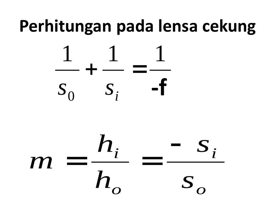 Perhitungan pada lensa cekung -f