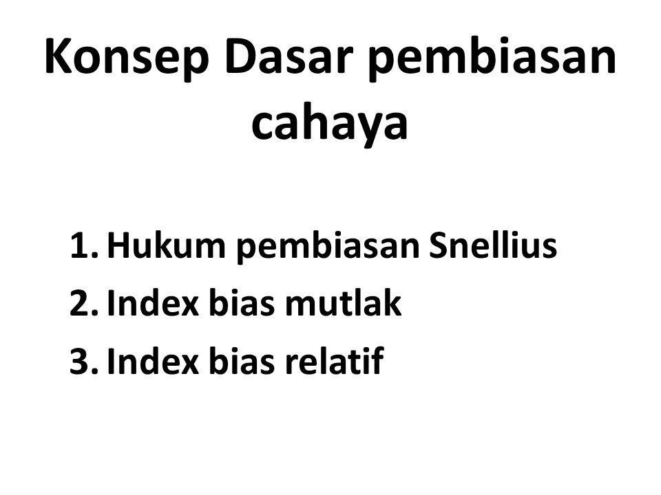 Konsep Dasar pembiasan cahaya 1.Hukum pembiasan Snellius 2.Index bias mutlak 3.Index bias relatif