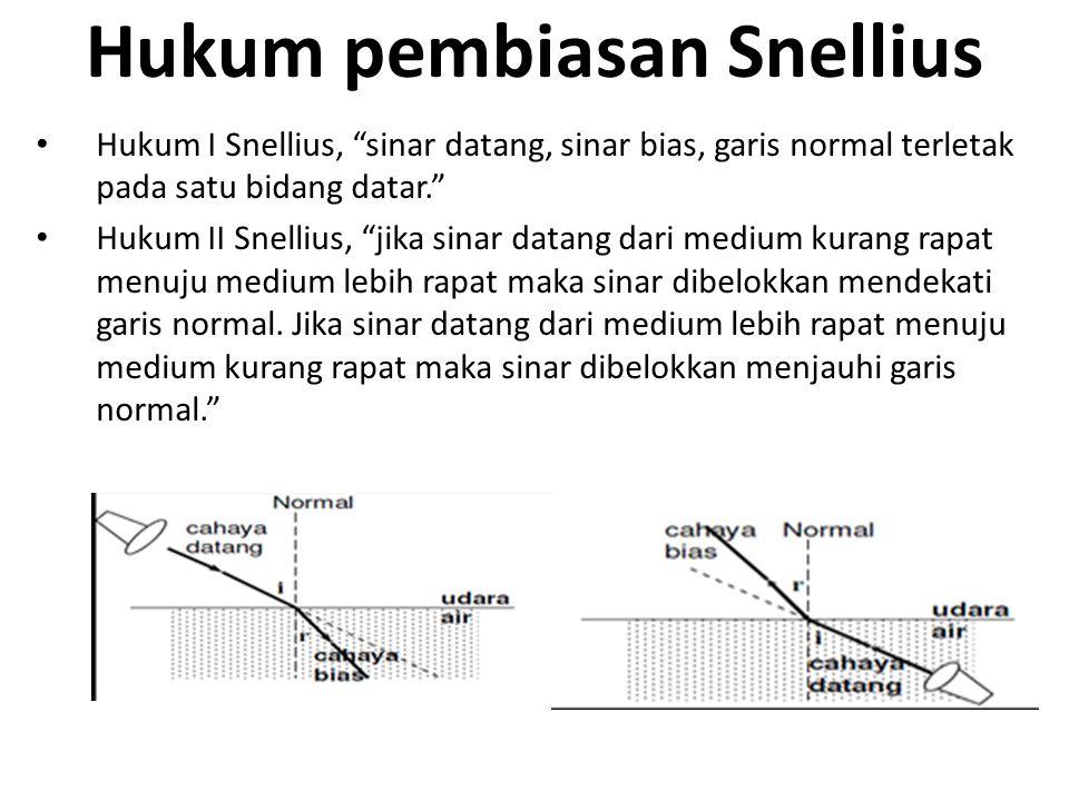 Hukum pembiasan Snellius Hukum I Snellius, sinar datang, sinar bias, garis normal terletak pada satu bidang datar. Hukum II Snellius, jika sinar datang dari medium kurang rapat menuju medium lebih rapat maka sinar dibelokkan mendekati garis normal.