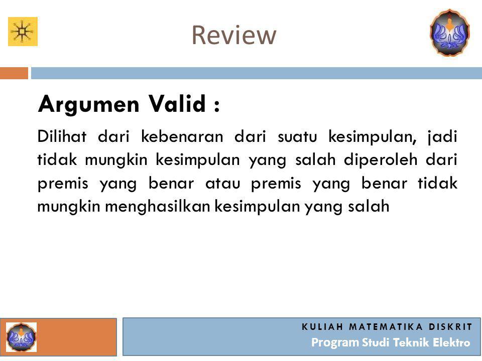 Review KULIAH MATEMATIKA DISKRIT Program Studi Teknik Elektro Argumen Invalid : Tidak ada hubungan antara kesimpulan dan premis- premisnya