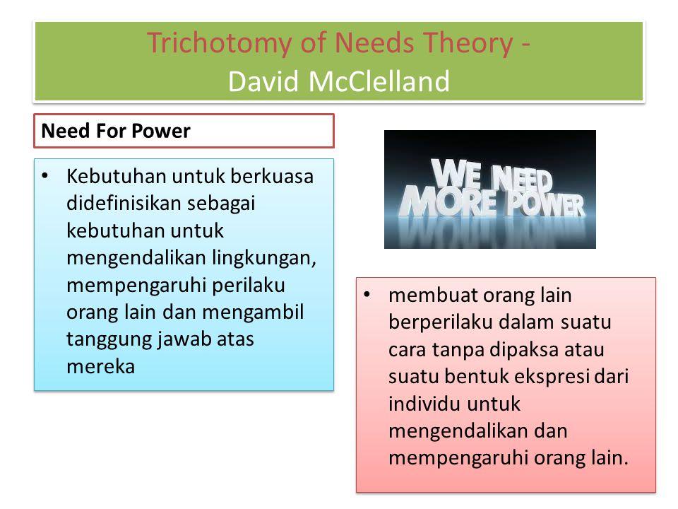 Need For Power Kebutuhan untuk berkuasa didefinisikan sebagai kebutuhan untuk mengendalikan lingkungan, mempengaruhi perilaku orang lain dan mengambil