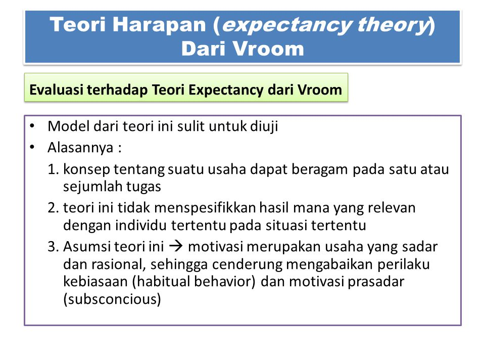 Model dari teori ini sulit untuk diuji Alasannya : 1. konsep tentang suatu usaha dapat beragam pada satu atau sejumlah tugas 2. teori ini tidak menspe