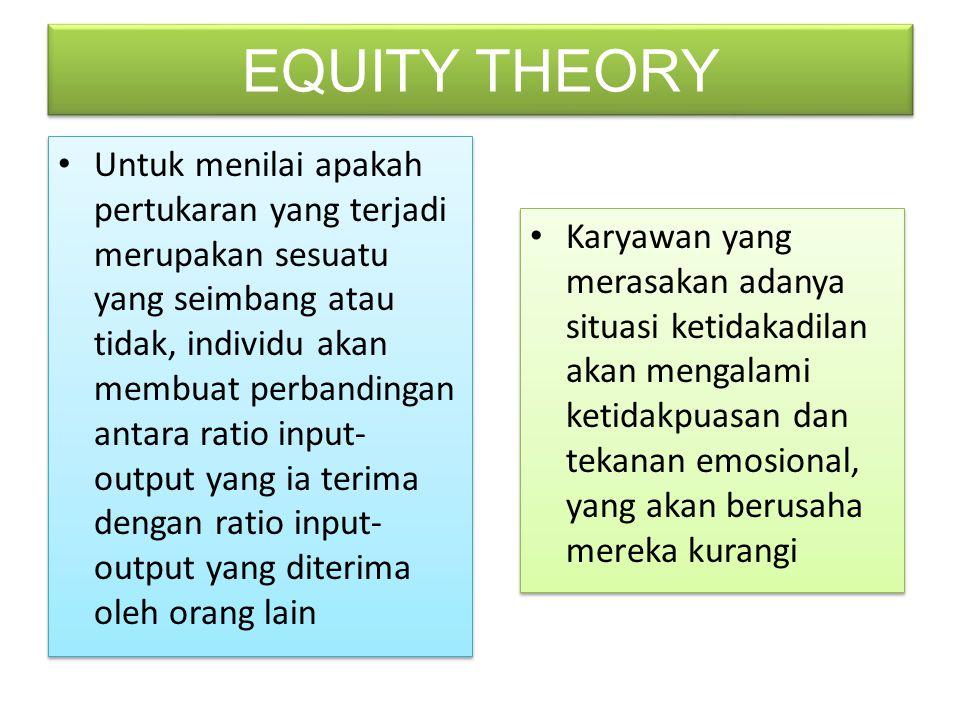 Untuk menilai apakah pertukaran yang terjadi merupakan sesuatu yang seimbang atau tidak, individu akan membuat perbandingan antara ratio input- output