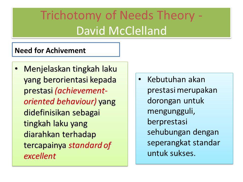 Need for Achivement Kebutuhan akan prestasi merupakan dorongan untuk mengungguli, berprestasi sehubungan dengan seperangkat standar untuk sukses. Menj