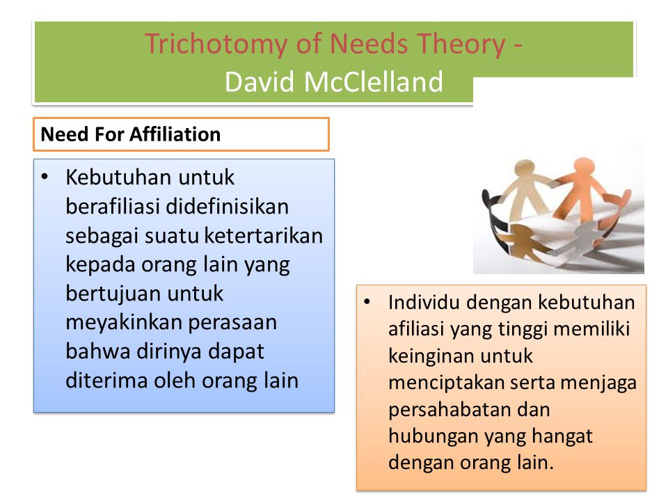 Trichotomy of Needs Theory - David McClelland Need For Affiliation