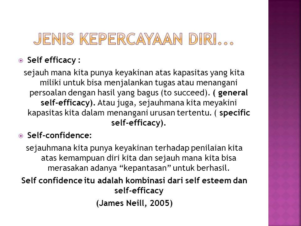  Self efficacy : sejauh mana kita punya keyakinan atas kapasitas yang kita miliki untuk bisa menjalankan tugas atau menangani persoalan dengan hasil