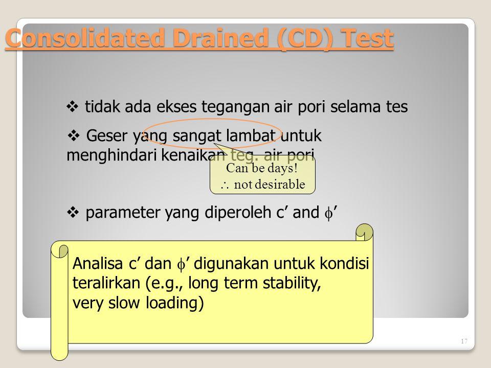 Consolidated Drained (CD) Test 17  tidak ada ekses tegangan air pori selama tes  Geser yang sangat lambat untuk menghindari kenaikan teg. air pori 