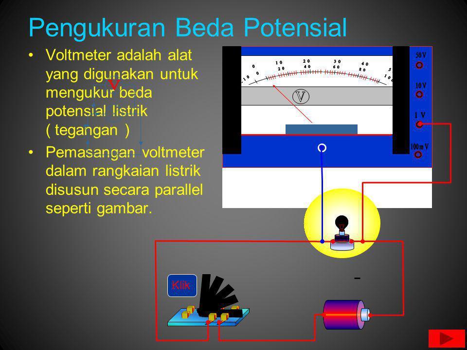 Pengukuran Beda Potensial Voltmeter adalah alat yang digunakan untuk mengukur beda potensial listrik ( tegangan ) Pemasangan voltmeter dalam rangkaian listrik disusun secara parallel seperti gambar.