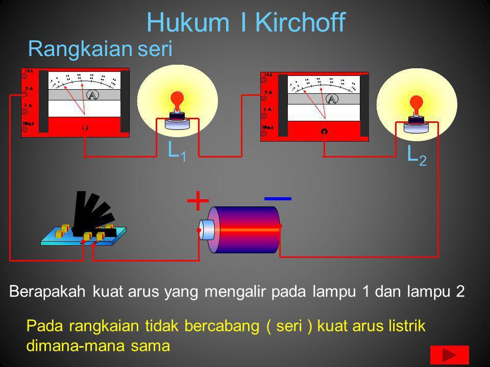 Hukum I Kirchoff Pada rangkaian tidak bercabang ( seri ) kuat arus listrik dimana-mana sama L1L1 L2L2 Rangkaian seri Berapakah kuat arus yang mengalir pada lampu 1 dan lampu 2