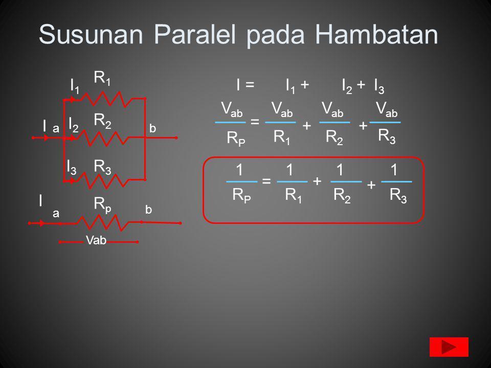 Susunan Paralel pada Hambatan ab R1R1 R2R2 R3R3 I =I 1 +I 2 +I3I3 RpRp a RPRP R1R1 R2R2 R3R3 + + Vab RPRP R1R1 R2R2 R3R3 + + b I I1I1 I2I2 I3I3 I = = 1111