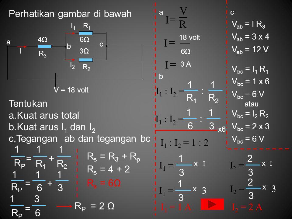 Perhatikan gambar di bawah Tentukan a.Kuat arus total b.Kuat arus I 1 dan I 2 c.Tegangan ab dan tegangan bc R2R2 1 RPRP R1R1 += 11 RPRP 63 += 111 RPRP 6 = 13 = RPRP 2 Ω R s = R 3 + R p R s = 4 + 2 R s = 6Ω a R V I  I  18 volt 6Ω6Ω I  3 A 6Ω 3Ω a b c 4Ω I2I2 I1I1 I V = 18 volt R1R1 R2R2 R3R3 I 1 : I 2 = R1R1 R2R2 : 11 6 3 : 11 x6 I 1 : I 2 = 1 : 2 I 1 = 3 1 x I 3 1 x 3 I 1 = 1 A I 2 = 3 2 x I I 2 = 2 A I 2 = x 3 3 2 b c V ab = I R 3 V ab = 3 x 4 V ab = 12 V V bc = I 1 R 1 V bc = 1 x 6 V bc = 6 V atau V bc = I 2 R 2 V bc = 2 x 3 V bc = 6 V
