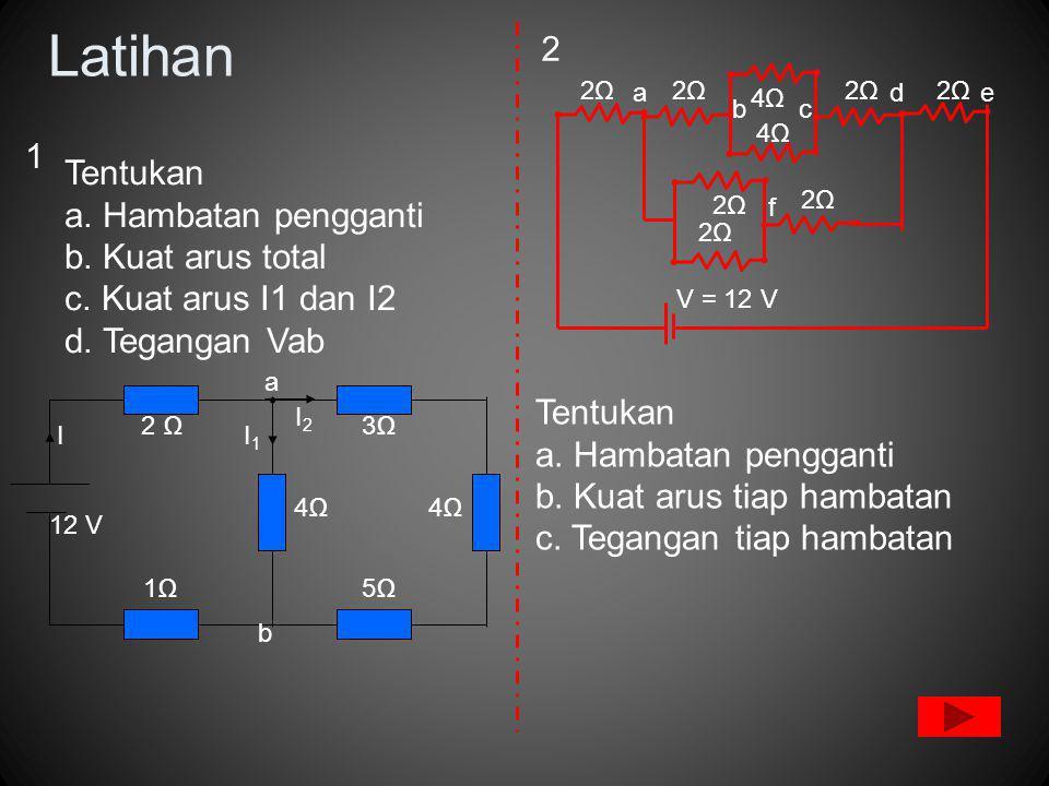 Latihan 3Ω 2 Ω 4Ω 5Ω 4Ω 1Ω I2I2 I1I1 12 V I b a Tentukan a.
