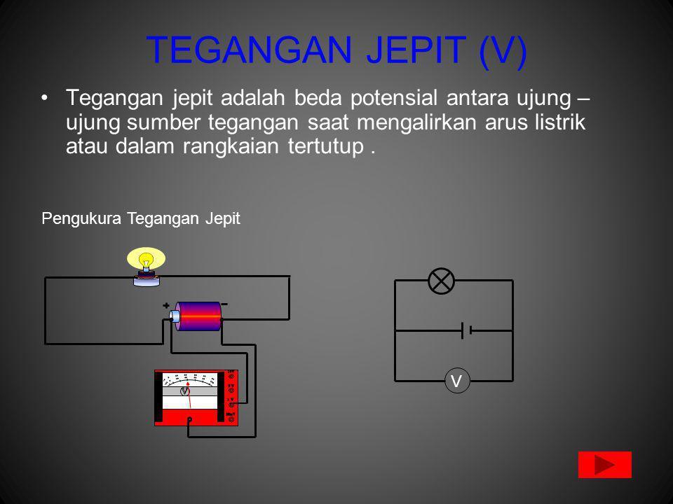 TEGANGAN JEPIT (V) Tegangan jepit adalah beda potensial antara ujung – ujung sumber tegangan saat mengalirkan arus listrik atau dalam rangkaian tertutup.