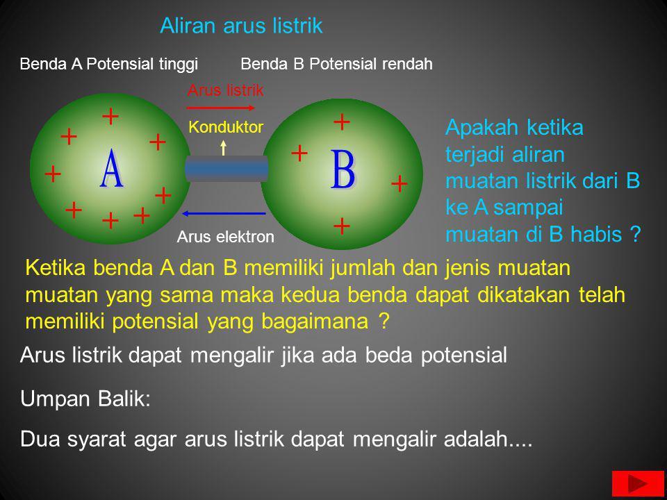 Benda A Potensial tinggiBenda B Potensial rendah Arus listrik dapat mengalir jika ada beda potensial Konduktor Arus elektron Arus listrik Umpan Balik: Dua syarat agar arus listrik dapat mengalir adalah....