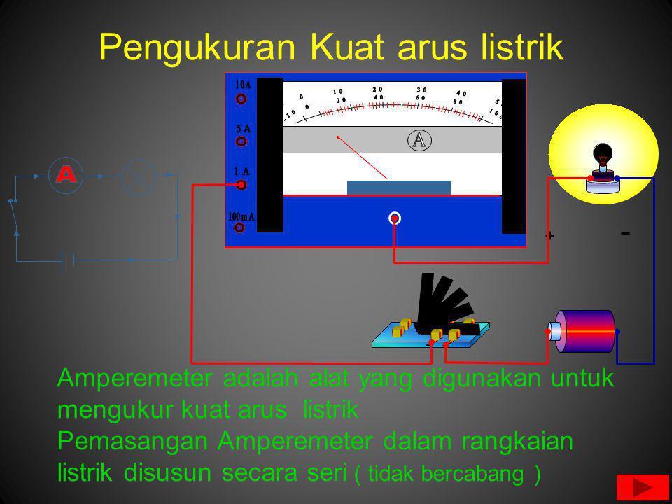 Pengukuran Kuat arus listrik Amperemeter adalah alat yang digunakan untuk mengukur kuat arus listrik Pemasangan Amperemeter dalam rangkaian listrik disusun secara seri ( tidak bercabang )