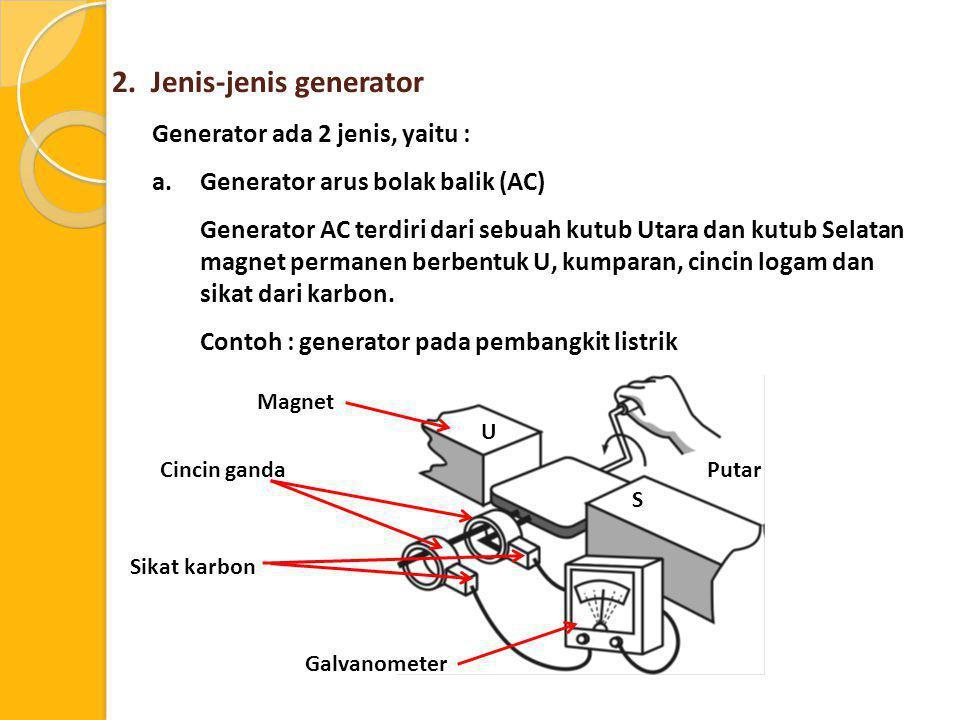 2. Jenis-jenis generator Generator ada 2 jenis, yaitu : a.Generator arus bolak balik (AC) Generator AC terdiri dari sebuah kutub Utara dan kutub Selat
