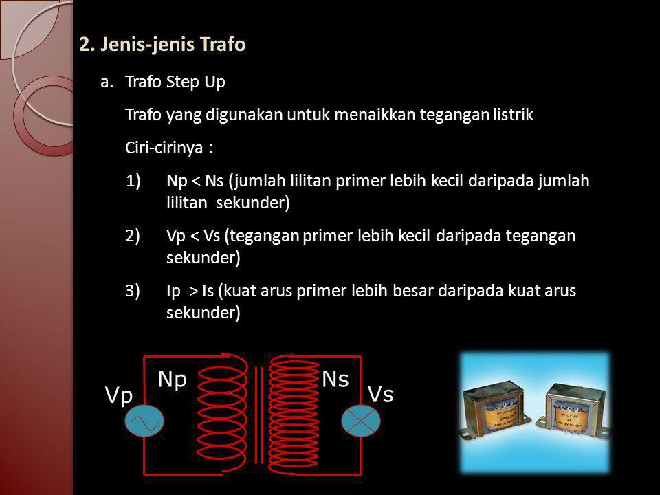 2. Jenis-jenis Trafo a. Trafo Step Up Trafo yang digunakan untuk menaikkan tegangan listrik Ciri-cirinya : 1)Np < Ns (jumlah lilitan primer lebih keci