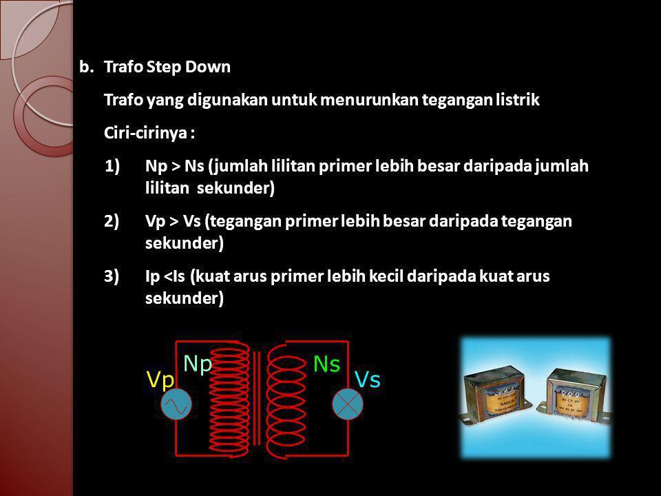 b.Trafo Step Down Trafo yang digunakan untuk menurunkan tegangan listrik Ciri-cirinya : 1) Np > Ns (jumlah lilitan primer lebih besar daripada jumlah lilitan sekunder) 2) Vp > Vs (tegangan primer lebih besar daripada tegangan sekunder) 3) Ip <Is (kuat arus primer lebih kecil daripada kuat arus sekunder) Np Ns VpVs