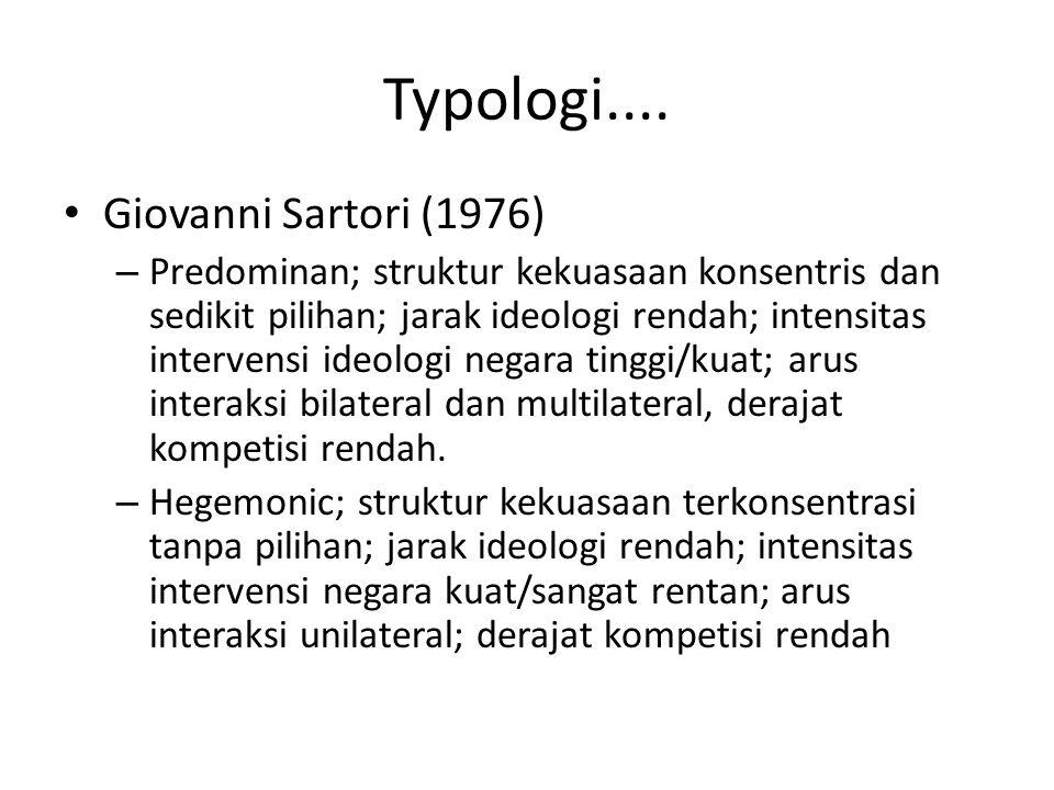Typologi.... Giovanni Sartori (1976) – Predominan; struktur kekuasaan konsentris dan sedikit pilihan; jarak ideologi rendah; intensitas intervensi ide