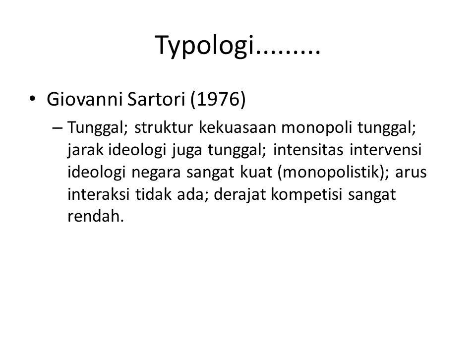 Typologi......... Giovanni Sartori (1976) – Tunggal; struktur kekuasaan monopoli tunggal; jarak ideologi juga tunggal; intensitas intervensi ideologi