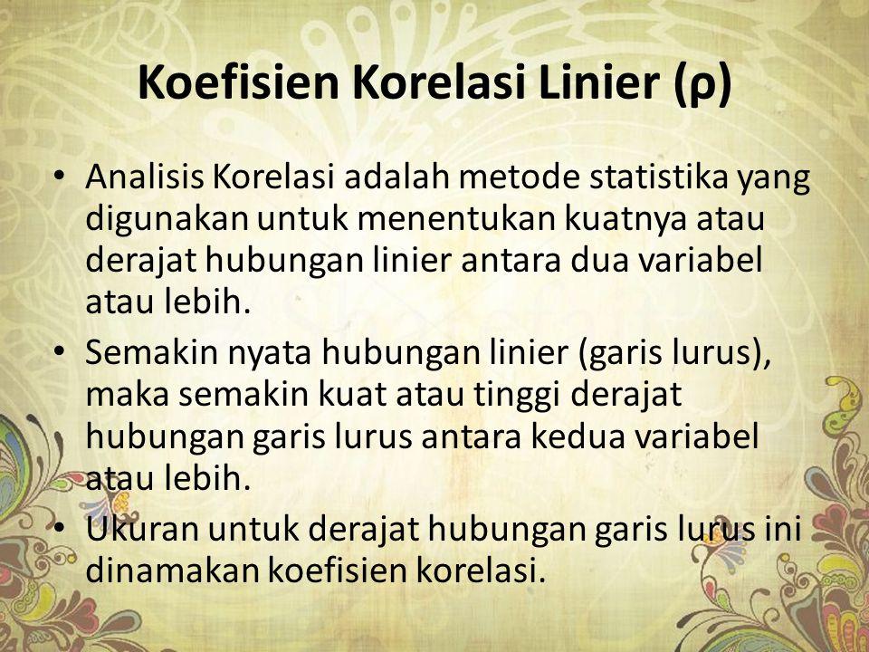 Koefisien Korelasi Linier (ρ) Analisis Korelasi adalah metode statistika yang digunakan untuk menentukan kuatnya atau derajat hubungan linier antara d