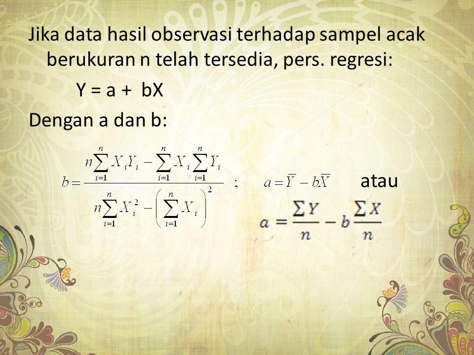 Jika data hasil observasi terhadap sampel acak berukuran n telah tersedia, pers. regresi: Y = a + bX Dengan a dan b: atau