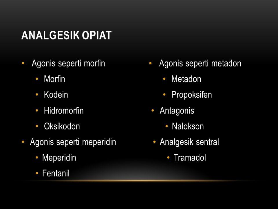 Agonis seperti morfin Morfin Kodein Hidromorfin Oksikodon Agonis seperti meperidin Meperidin Fentanil Agonis seperti metadon Metadon Propoksifen Antagonis Nalokson Analgesik sentral Tramadol ANALGESIK OPIAT