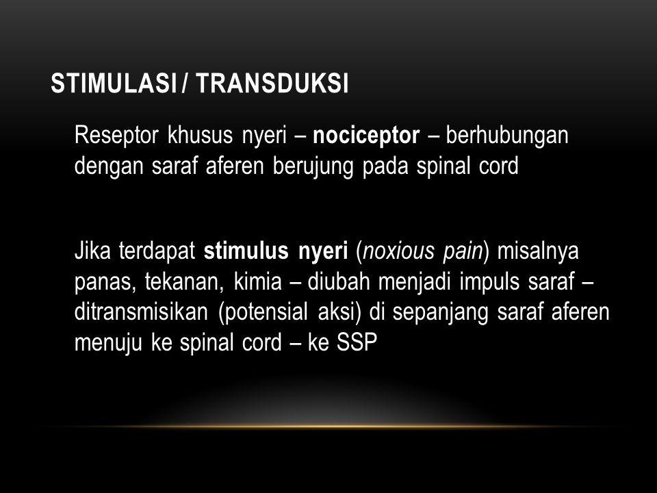 TRANSMISI Merupakan suatu proses penyaluran impuls melalui serabut saraf aferen (serabut nociceptor) Serabut saraf aferen ada 2 macam yaitu serabut A-δ dan serabut C Mediator inflamasi (histamin, prostaglandin,leukotrien, serotonin) dapat meningkatkan sensitivitas nociceptor - nyeri PERSEPSI NYERI Setelah impuls saraf sampai ke otak – nyeri dirasakan – timbul respon 'nyeriii...'