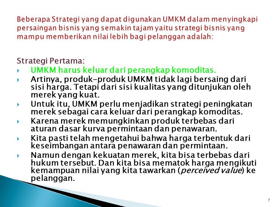 Strategi Pertama:  UMKM harus keluar dari perangkap komoditas.  Artinya, produk-produk UMKM tidak lagi bersaing dari sisi harga. Tetapi dari sisi ku