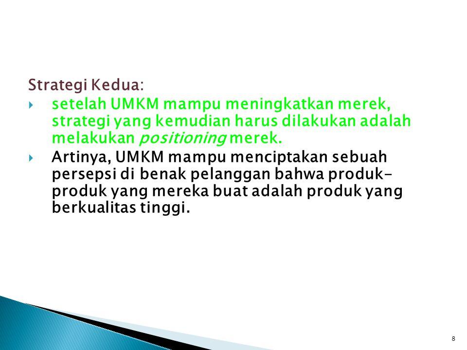 Strategi Kedua:  setelah UMKM mampu meningkatkan merek, strategi yang kemudian harus dilakukan adalah melakukan positioning merek.  Artinya, UMKM ma