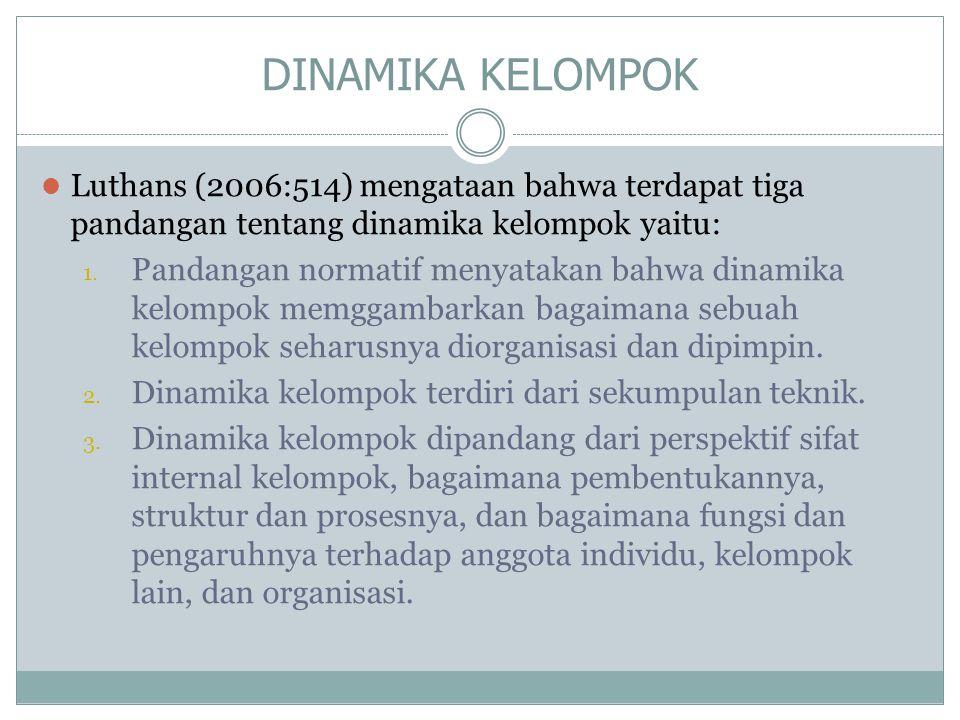 DINAMIKA KELOMPOK Luthans (2006:514) mengataan bahwa terdapat tiga pandangan tentang dinamika kelompok yaitu: 1. Pandangan normatif menyatakan bahwa d