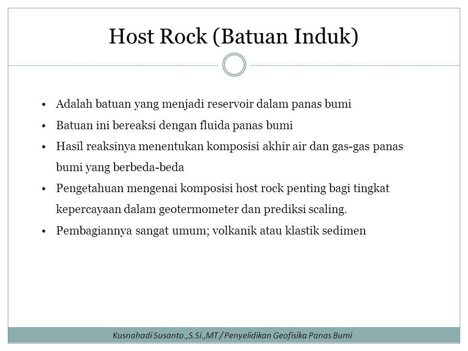 Host Rock (Batuan Induk) Adalah batuan yang menjadi reservoir dalam panas bumi Batuan ini bereaksi dengan fluida panas bumi Hasil reaksinya menentukan komposisi akhir air dan gas-gas panas bumi yang berbeda-beda Pengetahuan mengenai komposisi host rock penting bagi tingkat kepercayaan dalam geotermometer dan prediksi scaling.