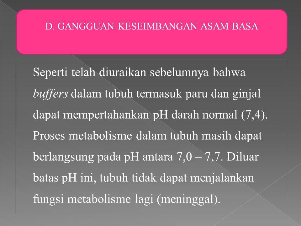 Seperti telah diuraikan sebelumnya bahwa buffers dalam tubuh termasuk paru dan ginjal dapat mempertahankan pH darah normal (7,4).