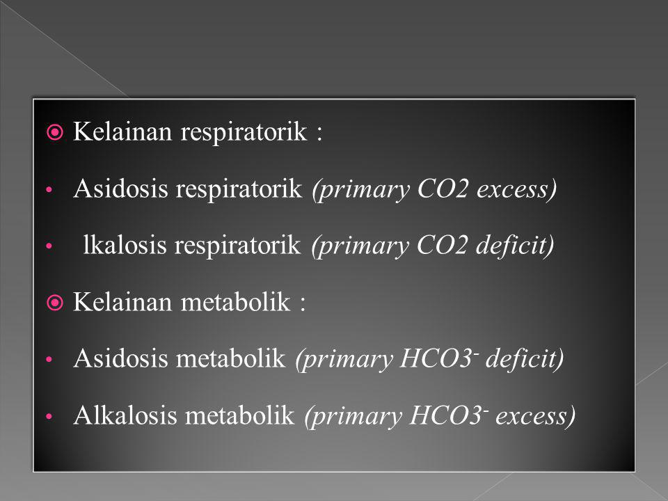  Kelainan respiratorik : Asidosis respiratorik (primary CO2 excess) lkalosis respiratorik (primary CO2 deficit)  Kelainan metabolik : Asidosis metabolik (primary HCO3 - deficit) Alkalosis metabolik (primary HCO3 - excess)  Kelainan respiratorik : Asidosis respiratorik (primary CO2 excess) lkalosis respiratorik (primary CO2 deficit)  Kelainan metabolik : Asidosis metabolik (primary HCO3 - deficit) Alkalosis metabolik (primary HCO3 - excess)