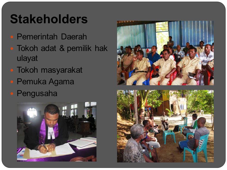 Stakeholders Pemerintah Daerah Tokoh adat & pemilik hak ulayat Tokoh masyarakat Pemuka Agama Pengusaha