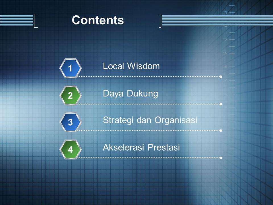 Contents Local Wisdom 1 Daya Dukung 2 Strategi dan Organisasi 3 Akselerasi Prestasi 4