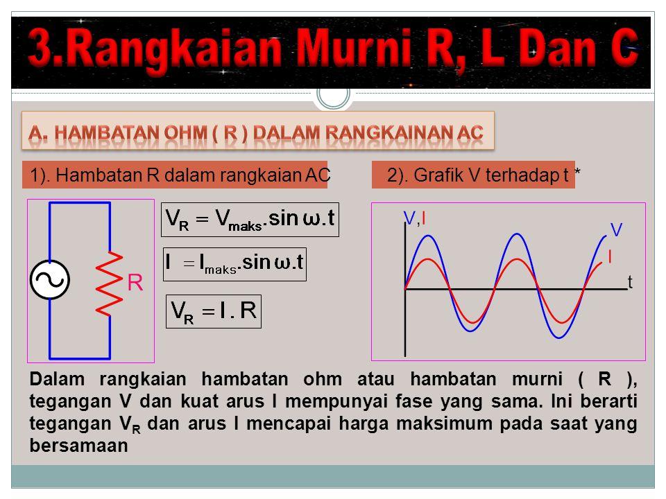 Dalam rangkaian hambatan ohm atau hambatan murni ( R ), tegangan V dan kuat arus I mempunyai fase yang sama.