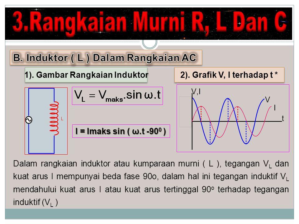 Dalam rangkaian induktor atau kumparaan murni ( L ), tegangan V L dan kuat arus I mempunyai beda fase 90o, dalam hal ini tegangan induktif V L mendahu