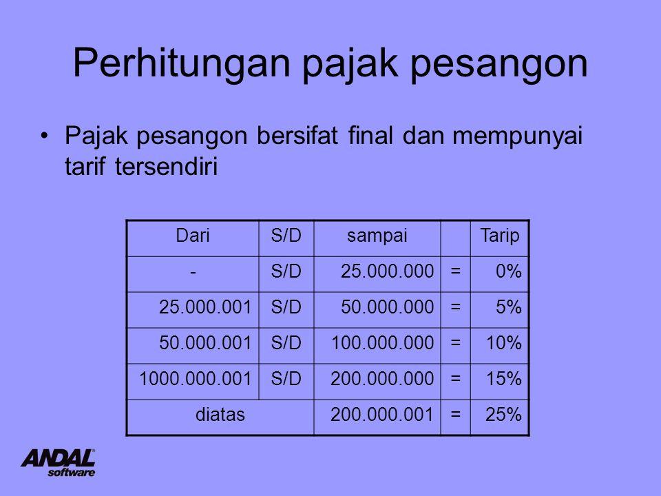 Perhitungan pajak pesangon Pajak pesangon bersifat final dan mempunyai tarif tersendiri DariS/DsampaiTarip -S/D25.000.000=0% 25.000.001S/D50.000.000=5